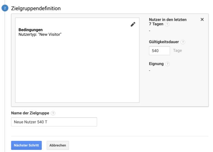 Interface für die Erstellung der Remarketing-Zielgruppen - Zielgruppendefinition