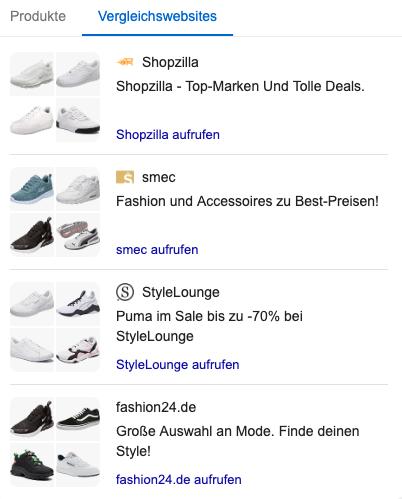 Zu sehen ist die neue Vergleichsanzeige bei Google Shopping