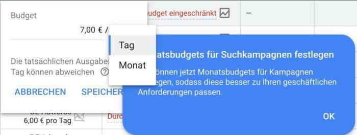 Monatsbudgets für Suchkampagnen in Google Ads