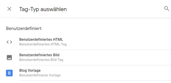 Zu sehen ist, wo die Vorlage im Google Tag Manager zu finden ist