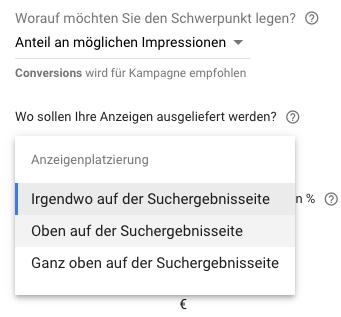 """Zu sehen ist die Gebotsstrategie """"Angestrebter Anteil an möglichen Impressionen"""" in Google Ads"""