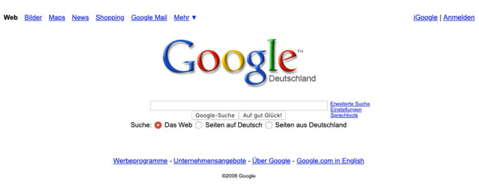 Zu sehen ist die Google Maske 2008