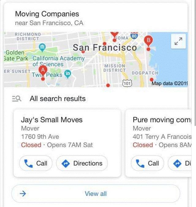 Zu sehen ist die Darstellung der Suchergebnisse im Karussell-Format im Local Pack