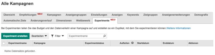 Microsoft Experimente-Tab
