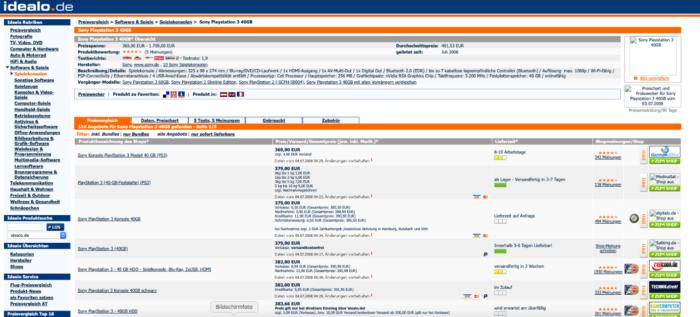 Zu sehen ist die Website von idealo 2008