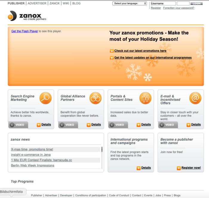 Zu sehen ist die Website von zanox 2008