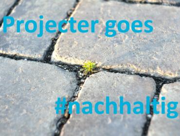 """ein Auschnitt aus einem gepflasterten Weg. Aus den Fugen wächst ein kleines Pflänzchen. AUf einem Textfeld ist zu lesen """"Projecter goes #nachhaltig"""""""
