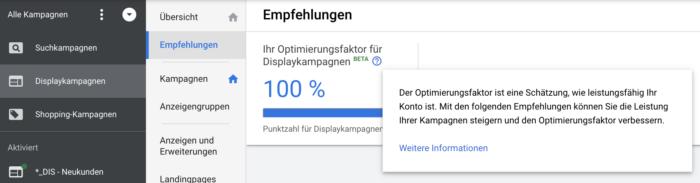 Zu sehen ist ein Screenshot aus Google Ads, der den Optimierungsfaktor visualisiert