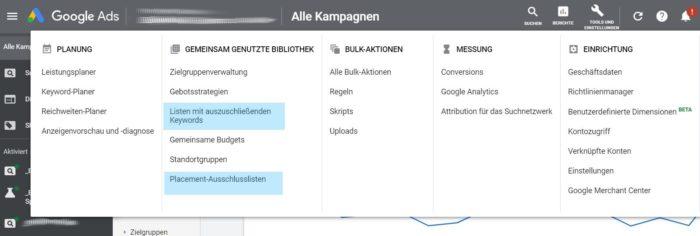 Keyword- und Placement Ausschlusslisten in Google Ads