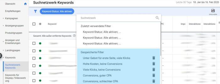 Zu sehen ist ein Screenshot der Filterkombinationen in Google Ads