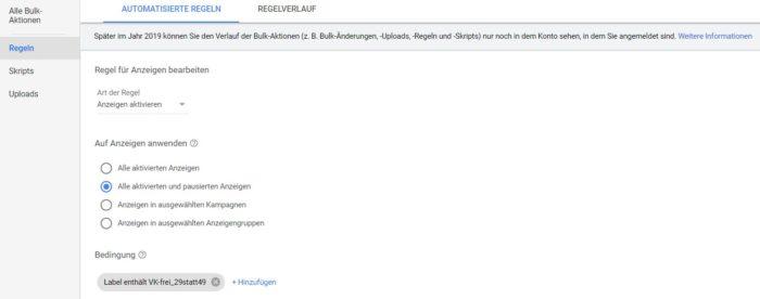 Zu sehen ist ein Screenshot wie man Regeln in Google Ads erstellen kann