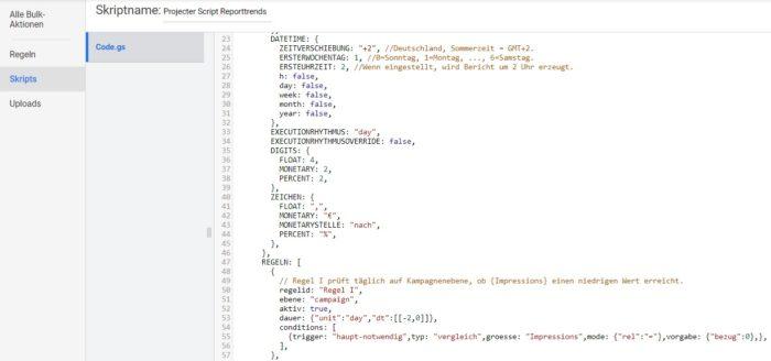 Zu sehen ist ein Beispielskript in Google Ads