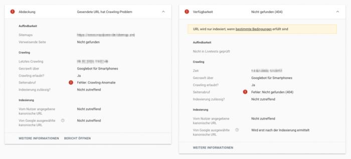 Zu sehen ist ein Screenshot des URL-Prüftools mit den verschiedenen Einstellungen.