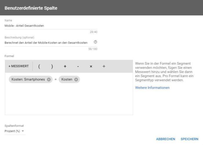 Screenshot aus Google Ads zeigt die Einstellung des Messwertes nach Geräten