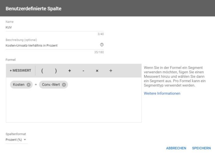 Screenshot zur Anzeige des Kosten-Umsatz-Verhältnisses in Google Ads