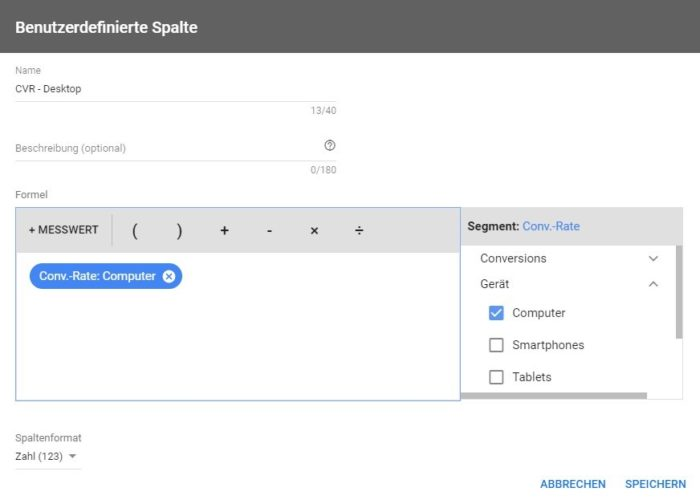 """Screenshot zeigt die Einstellung des Messwertes """"Conversion-Rate: Computer"""" in Google Ads"""