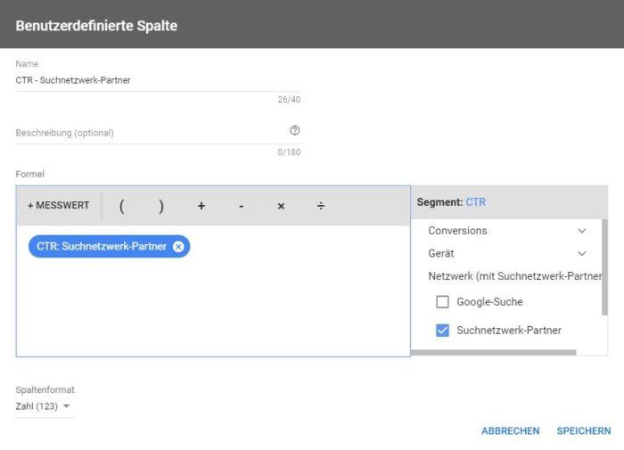 Screenshot aus Google Ads zeigt die Definition des Messwwertes nach Werbenetzwerken