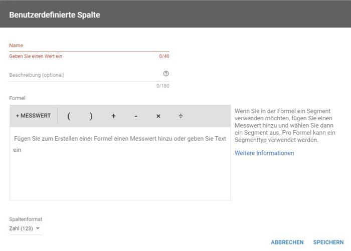 Screenshot des Google Ads Tools. Für benutzerdefinierte Spalten werden die Messwerte definiert.