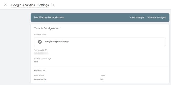 """Einstellungsfenster des Tools """"Google-Analytics"""""""