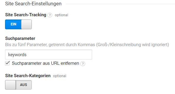 Zeigt ein Fenster des Google Tag Managers, in dem Einstellungen zum Site Search-Tracking vorgenommen werden können.