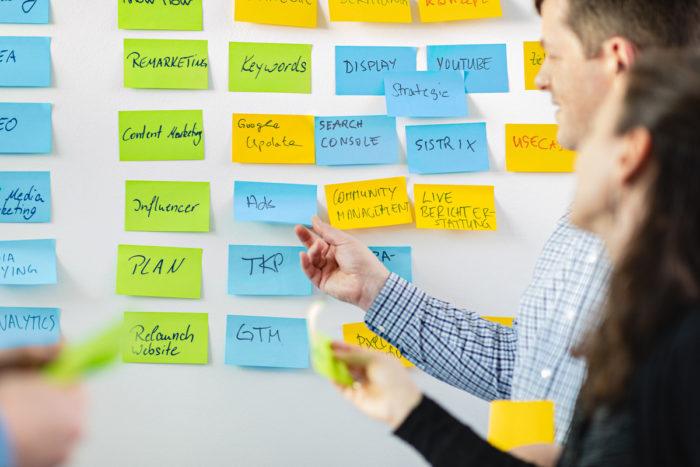 """Mehrere Personen arbeiten in einem Brainstorming an einem Whiteboard. Zu lesen ist """"Ads"""""""