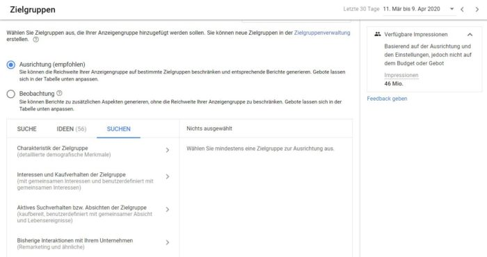Ansicht des Zielgruppen Targetings im Google Ads Editor
