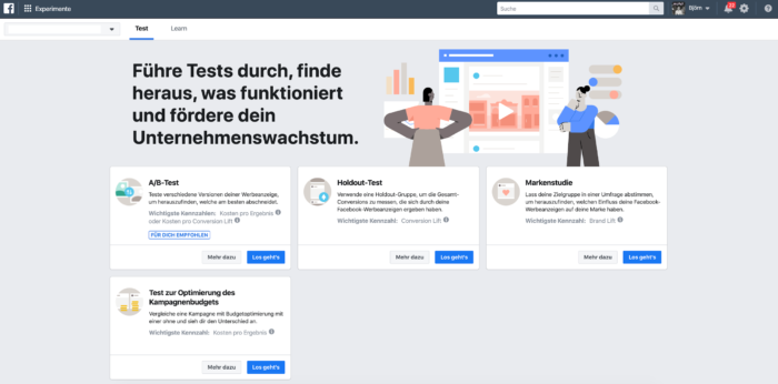 Screenshot der Benutzeroberfläche bei Facebook Experimente ehemals Test and Learn
