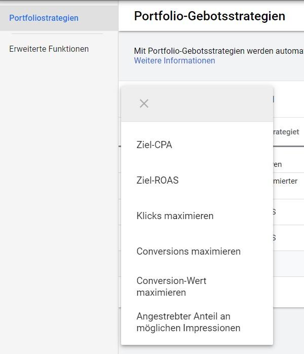 Portfolio-Gebotsstrategien bei Google Ads