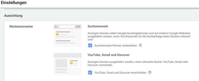 Auswahl von Werbenetzwerken in Google Ads