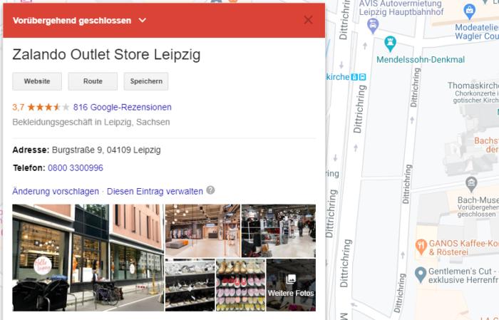 Screenshot von Google My Business