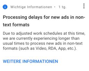 Informationsfenster auf Google Ads