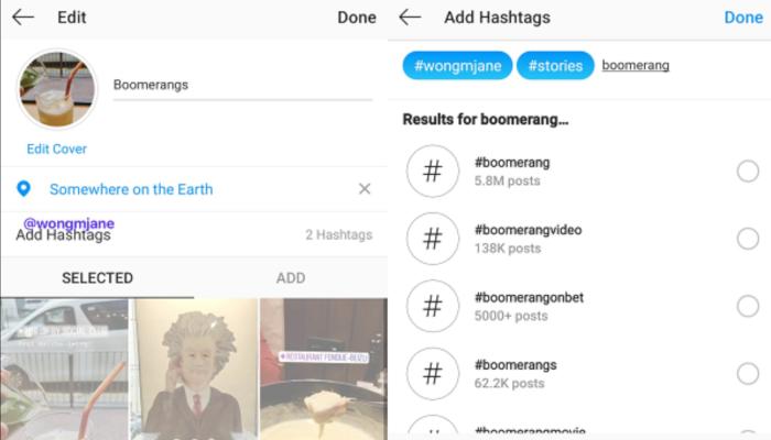 Screen des Instagram Story Highlights Editors, in dem Hashtags hinzugefügt werden