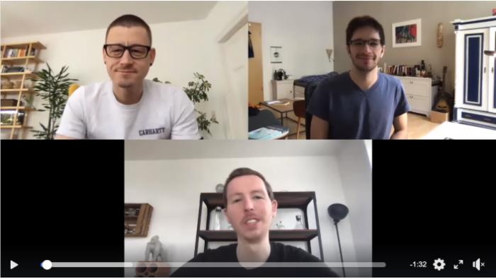 Screenshot eines Videos mit André, Steffen und Max, die das Home Office-Webinar im Video vorstellen
