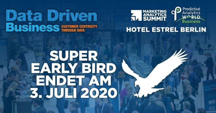 Werbebanner der Data Driven Business mit dem Hinweis, dass die Early-Bird-Tarife am 3. Juli enden