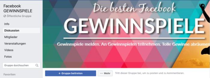 Screenshot einer Facebook Gruppe für Gewinnspiele