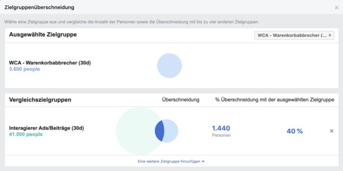Screenshot der Zielgruppenüberschneidung in Facebook Insights