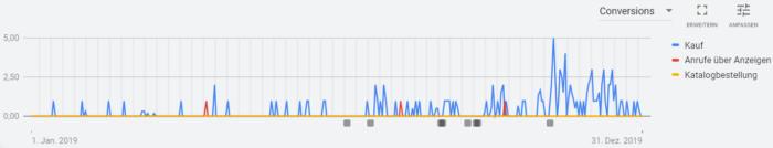 Screenshot der Auswertung von Segmenten in Google Ads