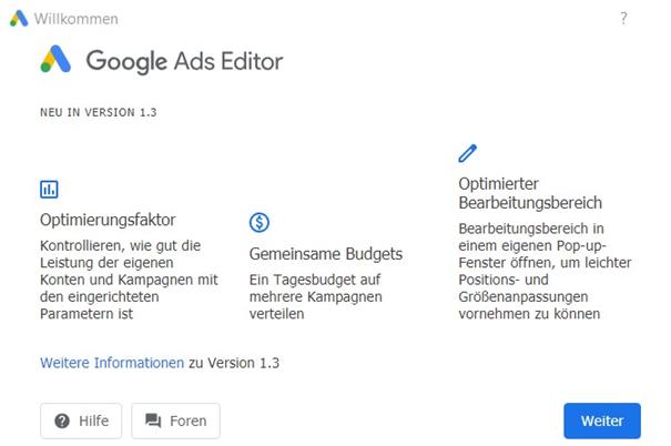 Screenshot Google Ads Editor
