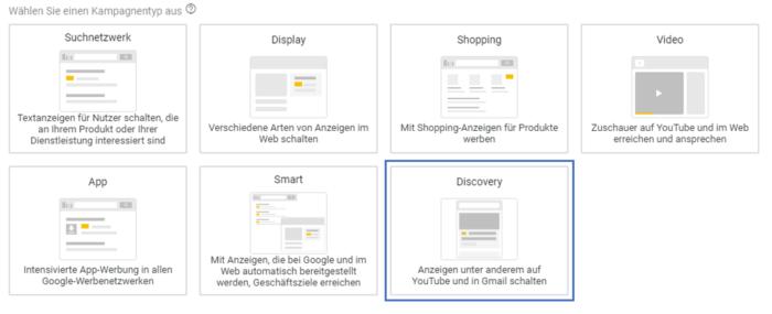 Screenshot aus dem Google Ads Editor zeigt die Discovery Ads