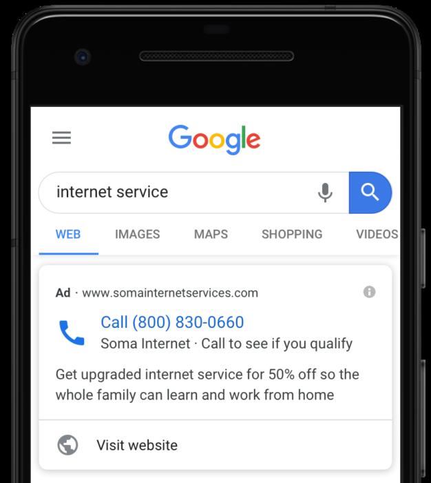Screenshot einer Nur-Anruf-Anzeige bei Google