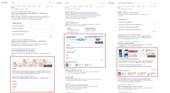 Screenshot zeigt die Position von Featured Snippets in den Google Suchergebnissen