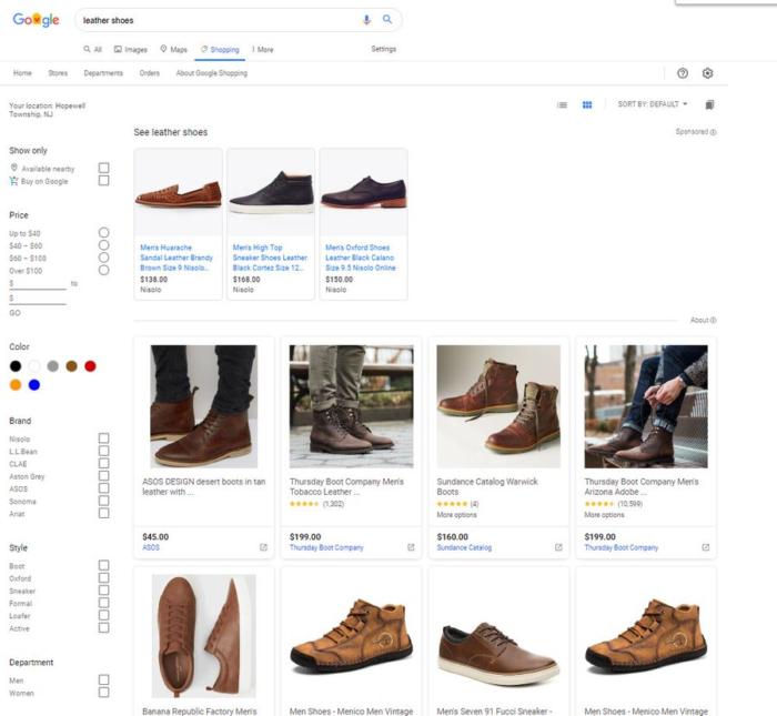 Screenshot der Ergebnisse bei Google Shopping