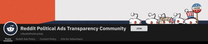 Banner Reddit Political Ads Transparency Comunity