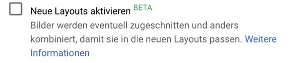 Aktivieren der BETA Version für die neuen RDA Layouts in Google Ads
