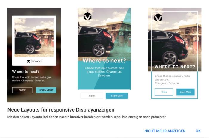 Screenshot aus Google Ads zeigt neues RDA Anzeigen Layout