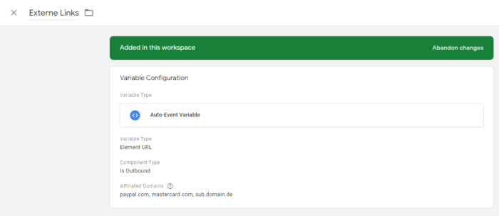 Screenshot der Variablen Konfiguration im Google Tag Manager