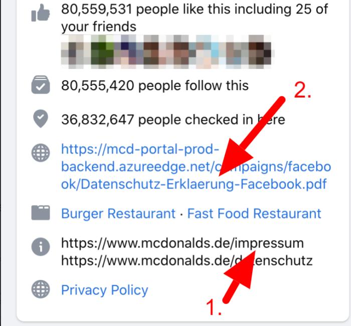 Das Impressum auf Facebook neu designter Seite ist nicht rechtskonform
