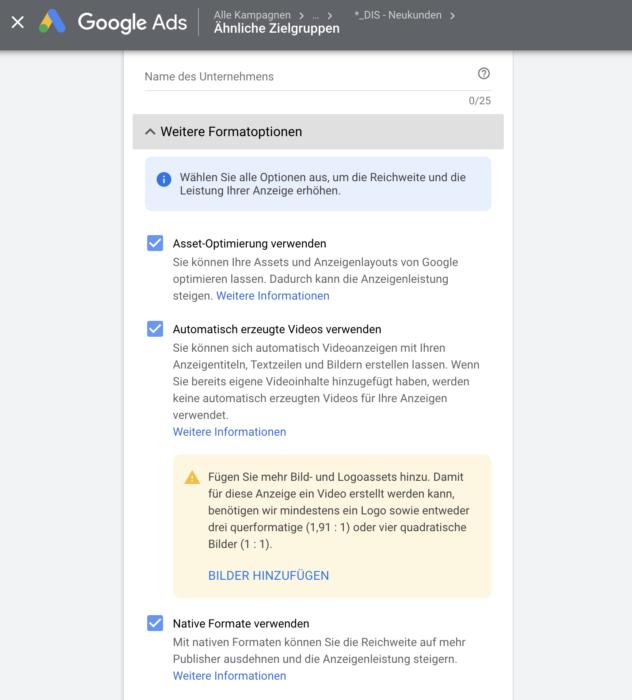 Neue Formatoptionen für RDA Anzeigen auf Google Ads
