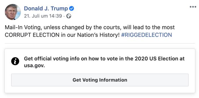 Kurswechsel in der Markierung politischer Statements auf Facebook