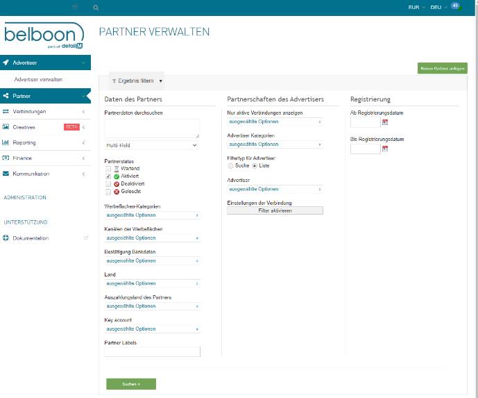 Screenshot des Belboon Dashboards